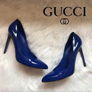 Authentic GUCCI Gloria Blue Patent Leather Pumps